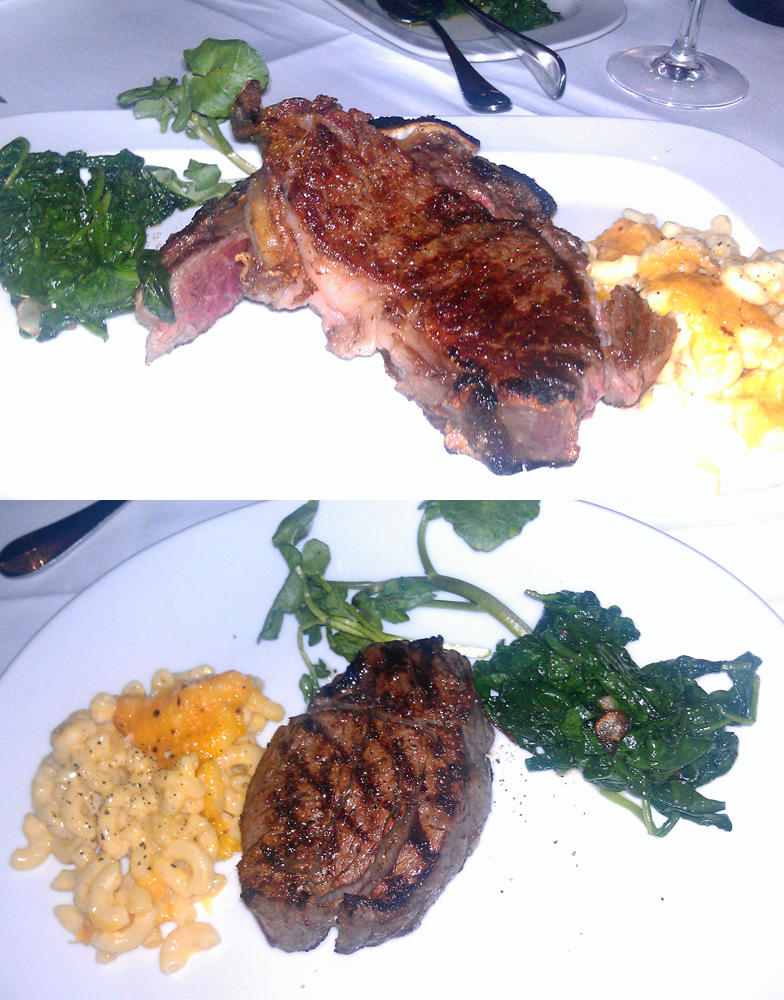 sirloin (top), filet (bottom) with sauteed spinach and mac & cheese