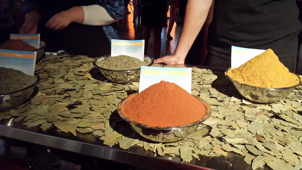 spices on a bed of bay leaves