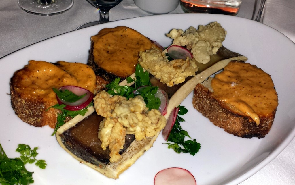 bone marrow with fried oyster