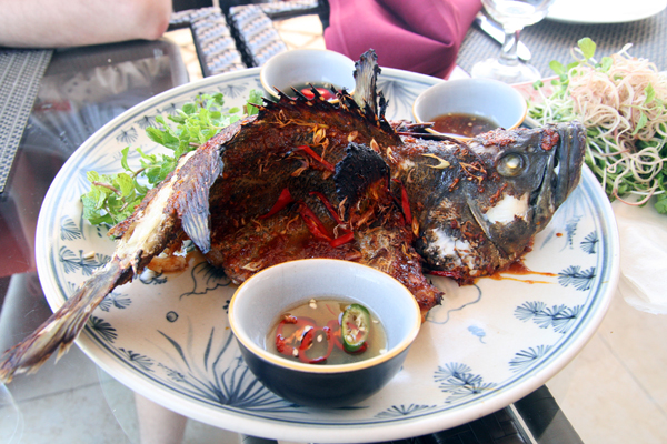 whole grouper with chili and fish sauce