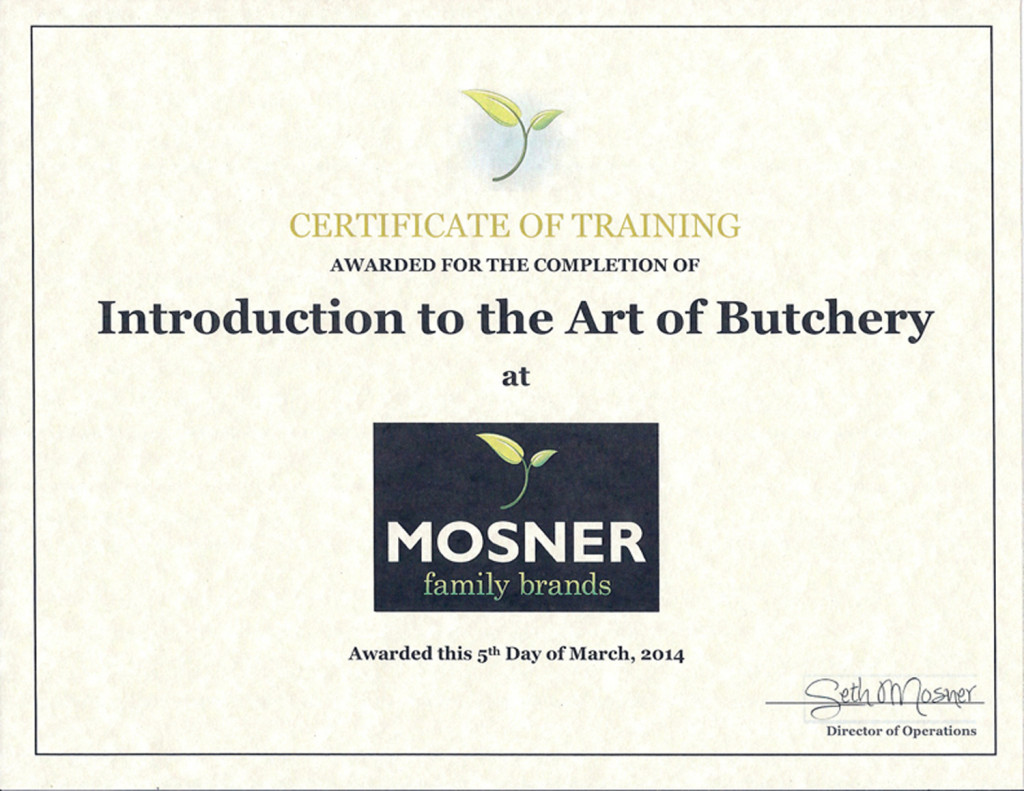 Butchery Certificate